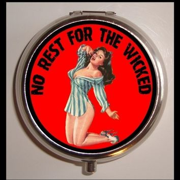 No Rest For the Wicked Pinup Gal Retro Pulp Pill Case Box Kitsch Attitude Bad Girl