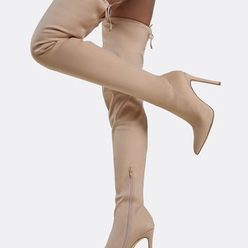 Drawstring Tie Point Toe Thigh High Boots NUDE