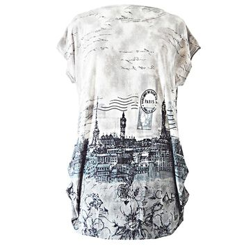 Women Ruched Loose-fitting Stamp Print T-shirt