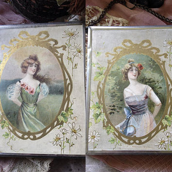 Vintage trifold mirror antique compact vanity display art deco nouveau Gibson girl boudoir traveling folding triptych mirrors