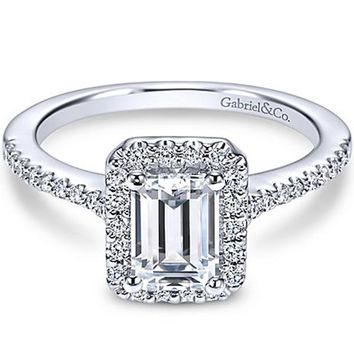 "Gabriel ""Kelsey"" Emerald Cut Halo Diamond Engagement Ring"