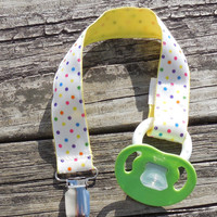 Yellow Ribbon, Multi colored Dots Pacifier Holder, Binky Clip, Pacifier Clip or Toy Clip