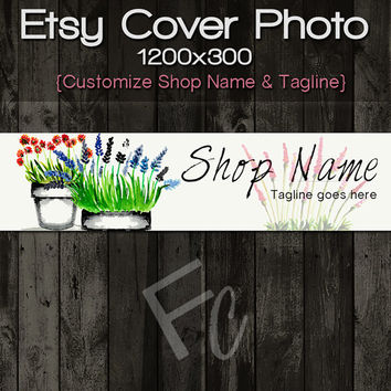 Etsy Shop Cover Photo 1200x300, Premade Garden Flowers Design, Large Floral Art Banner, Customize Shop Name, Looks Great on Mobile Devices