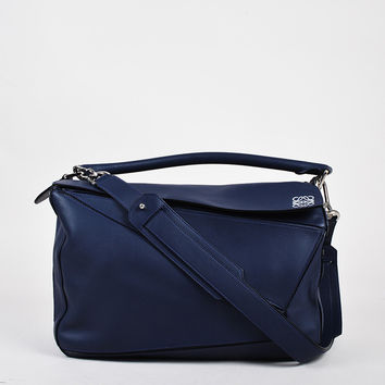 """Loewe Navy Leather Silver Tone Zip Large """"Puzzle"""" Shoulder Bag,leather top bag Chanel Rustic"""