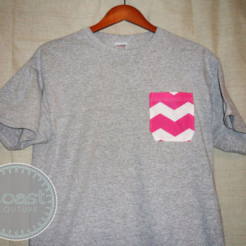 Grey/Pink Chevron Pocket Tee by CoastCouture on Etsy