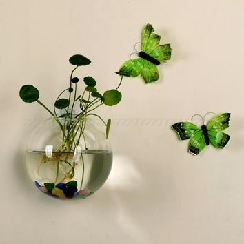 8CM/12CM Glass Vase Wall Hanging Hydroponic Terrarium Fish Tanks Potted Plant Flower pot JUL24