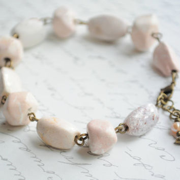 Beach Bracelet-- Coral bead bracelet-- Light pink genuine coral with starfish and pearl charm