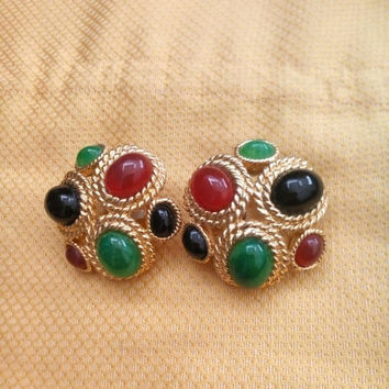 CINER Signed HUGE Earrings Moghul Jewels of India Gold Plated Jade Carnelian Onyx Cabochon