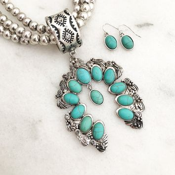 Squash Blossom Native American Inspired Necklace set
