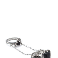 FOREVER 21 Chained Knuckle Ring Burn.S/Black