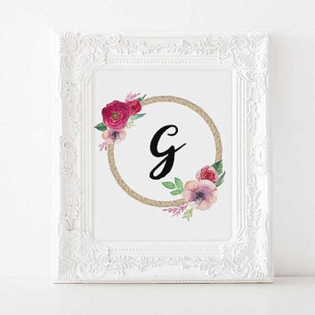 Custom nursery G baby name initials Nursery decor Nursery Letter nursery initials nursery name personalized initials baby name baby girl art
