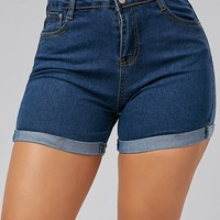 High Waisted Denim Skinny Mini Shorts