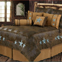 Rustic Turquoise Triple Star Bedding Set