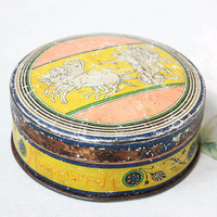Antique USSR Candy Tin / RARE Ukrainian Vintage МОНПАНСЬЕ Pastilles Box, Pastel Chariot / Soviet 1930's Art Deco Round Storage Box, Odessa