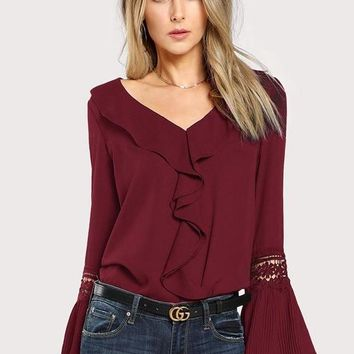 Burgundy Ruffle Bell Sleeve Laced Blouse
