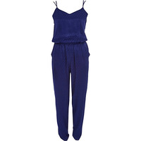 River Island Womens Blue tile jacquard cami jumpsuit