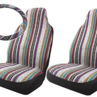 Baja Inca Saddle Blanket High Back Bucket Seat Covers Pair with Steering Wheel Cover Set