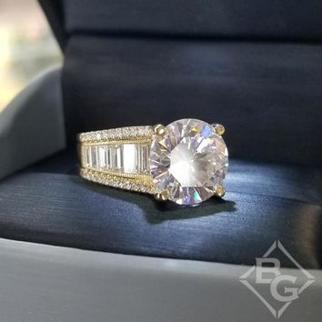 "Simon G. 18K Yellow Gold Large Center ""Cathedral Style"" Side Baguette Diamond Engagement Ring"