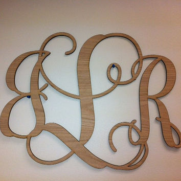 "Home Decor, 32"" Wooden Monogram, Wall Art, Initial monogram,Unpainted, Unfinished,Wedding Decor"