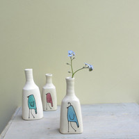 MADE TO ORDER// Ceramic blue bird bud vase, small spring flower vase gift for her,  bluebird vase pottery by catherine reece