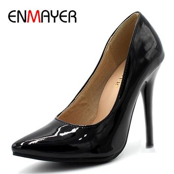 ENMAYER 7 Colors Women Stiletto High Heel Shoes Pointed Toe Sexy Wedding Fashion Sexy Platform Pumps Heels Shoes Big Size 34-44