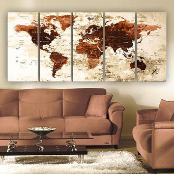 "XLARGE 30""x70"" 5 Panels 30""x14"" Ea Art Canvas Print Watercolor Brown Beige Old Map World Push Pin Travel Wall decor (framed 1.5"" depth)M1822"