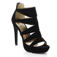 BONNIBEL SOFIA-4's Women Peep Toe Strappy Back Zipper Stiletto Heel Sandals, Color:BLACK, Size:9
