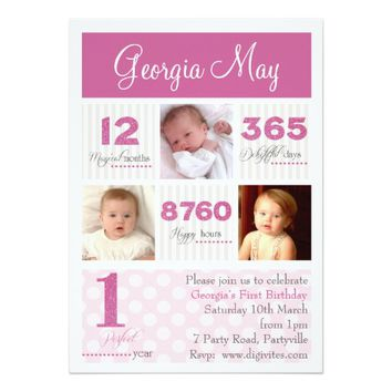 One first year Baby Girl First Birthday 5x7 Paper Invitation Card