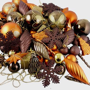 375-Piece Club Pack of Shatterproof Chocolate Brown and Burnt Orange Christmas Ornaments