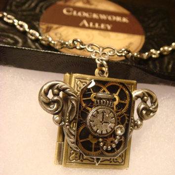 Steampunk Neo Victorian Clockwork Gears with Tiny Pocket Watch Book LOCKET Necklace (1544)