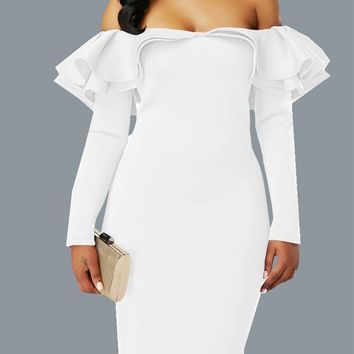 White Zipper Cascading Double Ruffle Off Shoulder Backless Long Sleeve Party Midi Dress