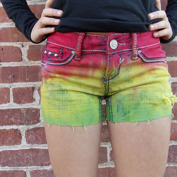 Rasta Colored Studded Shorts
