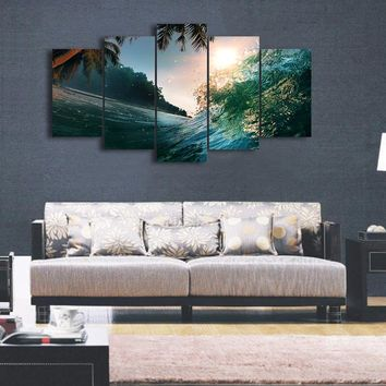 Ocean Wave with Palm Tree -  5 piece panel wall art canvas