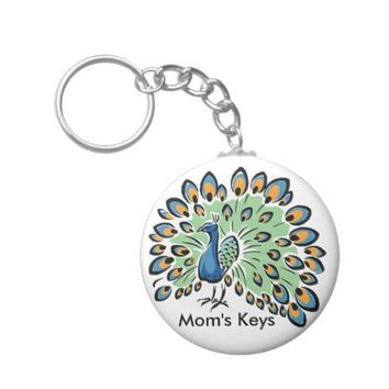 Colorful Cartoon Peacock Basic Round Button Keychain