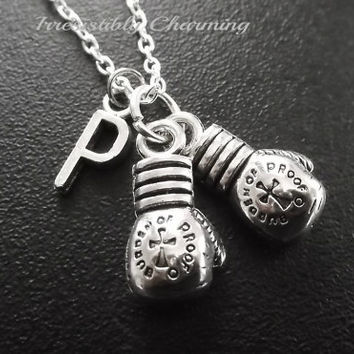 Silver plated Boxing gloves necklace, monogram personalized custom gifts under 15 item No.739
