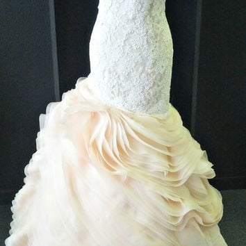 Silk Organza Blush Wedding Dress / Layered Organza Wedding Dress