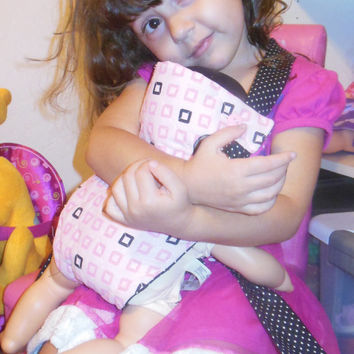 Bitty baby doll carrier doll sling 15-16 inch dolls or stuffed animals adjustable pink and black