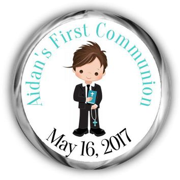 Boy First Communion Kisses Stickers