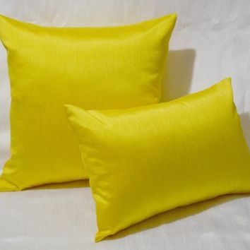 """Creative 12""""x18"""" Solid Faux Silk Decorative Throw Pillow With Zipper - Yellow"""