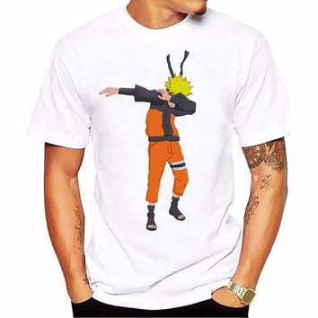 Dabbing Uzumaki Naruto funny t shirt men white Casual plus size tee shirt homme cute cartoon DAB dance Kakas tshirts mens