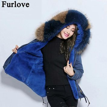 Furlove 2017 New Winter Women Faux fur Lined Denim Jeans Thicken Warm Jacket Big Real Raccoon Fur Female Jacket Overcoat