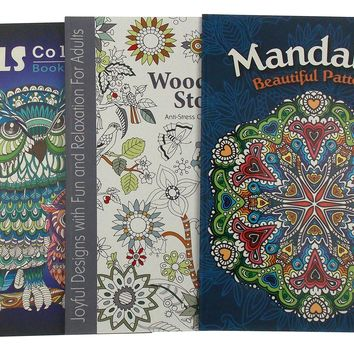 Adult Coloring Books Lot of 3 Woodland Mandalas Owls Quality Paper Anti Stress