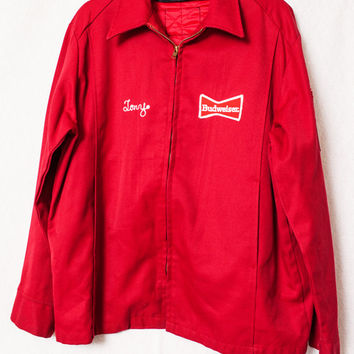 Vintage Budweiser Delivery Man Uniform, Budweiser Jacket, USA Made Size 42 Large, Red Budweiser Embroidered Jacket, TONY Budweiser Jacket