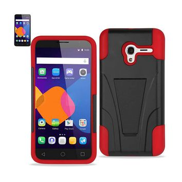 New Alcatel OneTouch PIXI 3 Hybrid Heavy Duty Case With Kickstand In Red Black