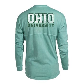 Official NCAA Ohio University Bobcats STAND UP AND CHEER! Women's Long Sleeve Spirit Wear Jersey T-Shirt