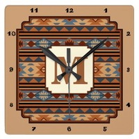 Southwest Design Gray Brown Square Wall Clock