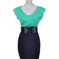 Anna-Kaci S/M Fit Black Green Slim Business Office Casual Dress With Corset Belt
