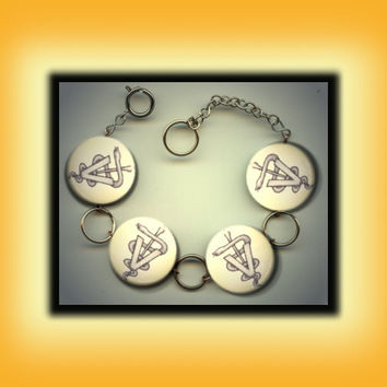 Veterinarian Vet Caduceus Altered Art Button Charm Bracelet with Rhinestone