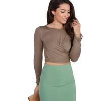 Brown Bottom Twist Crop Top
