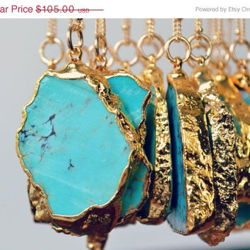 ON SALE MASSIF Aqua /// Redskin /// Large Turquoise Necklace /// 24kt Gold Electroformed